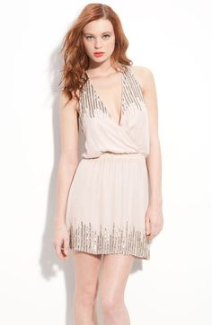 Parker Pink Sequin Embellished Silk Surplice Dress