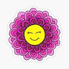 Smiley Happy, Cute Laptop Stickers, Cute Pink, Design Art, Face, Prints, Products, Mandalas, Happy Emoticon