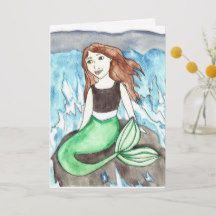 Dreaming Mermaid Birthday Greeting Card
