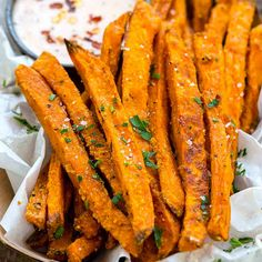 Baked sweet potato fries are an easy to prepare side dish or appetizer. By adding a seasoned starch coating to the sliced sweet potatoes, each bite will have an extra layer of crispy irresistible crunch! #video #sweetpotato #fries #appetizer #fingerfoods Crispy Sweet Potato, Sweet Potato Recipes, Baked Sweet Potato Wedges, Baked Sweet Potatoes, Easy Sweet Potato Fries, Sliced Potatoes, Sweet Potato Fries Seasoning, Sweet Potato Diet, Best Sweet Potato Casserole