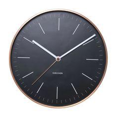Minimal Wall Clock in Copper + Black