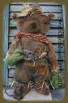 How about this epattern, Scarebear! Love making this scarecrow bear and his mice. Pattern includes directions for making standing scarecrow bear