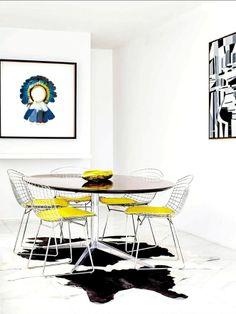 Mesa Florence Knoll e cadeiras Bertoia