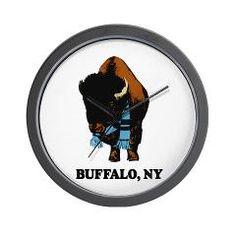 BUFFALO, NY - buffalo with sk Wall Clock