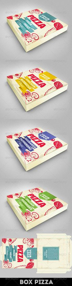 Buy Design Pizza Box by on GraphicRiver. Design Pizza Box Size: mm 300 Dpi 3 mm bleeds Organised and named layers, fully editable. Pizza Branding, Pizza Logo, Pizza Burger, Pizza Box Design, Pizzeria Design, Meat Box, Pie Box, Pizza Boxes, Pizza Restaurant