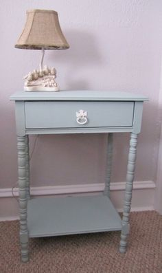 Pale Green End Table Side Table Nightstand by 2BirdsVintage, $84.00