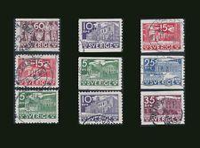 Sweden 1935 Swedish Parliament Used 9 Stamp Set Scott Catalog 239-47