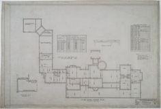 First floor framing plan Adamsleigh (Greensboro, N. Floor Framing, Historic Houses, Tudor Style, Spiral Staircase, Carriage House, Beautiful Homes, House Plans, Floor Plans, Flooring