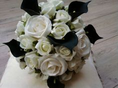 BLACK CALLA LILLYS IVORY WHITE ROSES  BRIDE BOUQUET