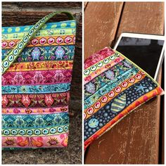 Tote and matching cell phone case from It's Sew Ana via Tula Pink!  You can make them with ribbons.