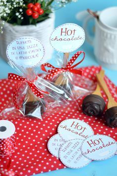 Christmas Treats, Christmas Diy, Biscotti, Merry Xmas, Finger Foods, Hot Chocolate, Nutella, Packaging, Gift Wrapping