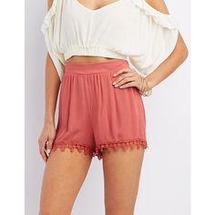 Crochet-Trim Gauze Shorts