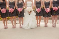 dark gray dresses with pink bouquets | Images by Lindsey Gomes Photography