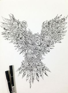 Strikingly Detailed Steampunk Owl Illustration By Doodle Artist Kerby Rosanes / #10 of 10 Photos