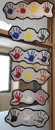 Colour mixing – Friendship handprints – to Colour Mixing Eyfs, Mixing Primary Colors, Color Mixing Chart, Colour Chart, Kindergarten Colors, Preschool Colors, Preschool Art, Preschool Activities, Preschool Weather