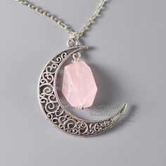 Crescent moon necklace Rose quartz necklace by somethingsepical