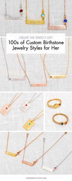 Save 30% with code PNST30 and try any of a dozen ways to stylize your birthstone jewelry! From custom necklaces, rings, bracelets and bezel set birthstones you can customize your silver, gold or rose gold colored jewelry. Easy to customize online, ships in 24 hours just visit EvesAddiciton.com.