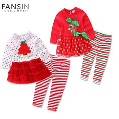 2Pcs Winter Girls Christmas Dress Lace Tutus Embroidered Dress+Stripe Pant Baby Girl Clothes Set Christmas Costume