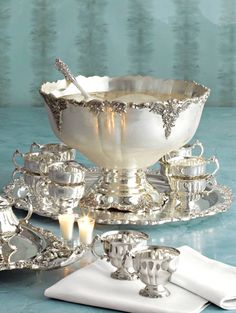 Wallace Grande Baroque Sterling Silver Tea, Punch, and Bowl service