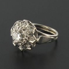 RARE Bague or blanc diamants art déco Ring in Bijoux, montres, Joaillerie, Bagues   eBay
