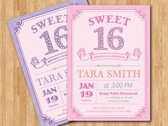 Sweet 16 birthday invitation printable. Sweet sixteen by arthomer