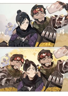 Squad by mytb_mono // Apex Legends Wraith / Mirage / Pathfinder Funny Art, Funny Memes, Character Art, Character Design, Warframe Art, Legend Images, Gaming Memes, Game Art, Anime Characters