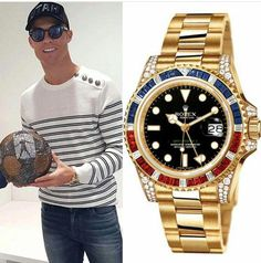 Cristiano Ronaldo wristgame is on fire 🔥 The Portuguese champion was recently spotted wearing one of the coolest Rolex GMT Master II. 116758 SARU in full yellow gold & factory set with diamonds, rubies & sapphires -( Luxury Watches, Rolex Watches, Watches For Men, Rolex Gmt Gold, Gold Factory, Bar Fancy, Rolex Gmt Master, Best Watch Brands, Vintage Rolex