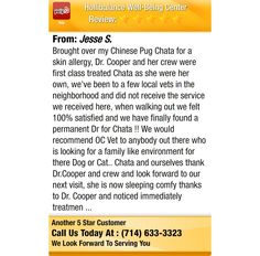 Brought over my Chinese Pug Chata for a skin allergy, Dr. Cooper and her crew were first...