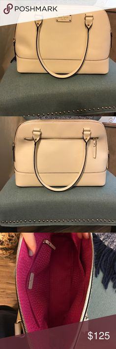Kate Spade New York Grove Court- Maise Satchel Cream Kate Spade bag with pink lining, excellent condition- no stains or rips, stored in a smoke free home kate spade Bags Satchels