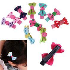 10PC Girls Baby Kids Children Hair Accessories Bows Snaps Alligator Clips Slides #UnbrandedGenenic #RibbonBow