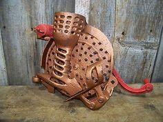 Antique Cast Iron AH Patch Black Hawk Corn Sheller Dated 1889 Vintage Farm Tool