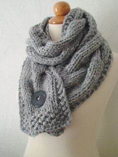 Scarf  Chunky Cowl Grey Extra Thick Cabled Knit by LaimaShop, $80.00