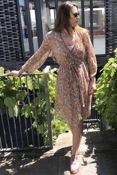 We love our new relaxed wrap summer dresses in silk floral and fine cottons and linens. Linens, Wrap Dress, Silk, Summer Dresses, Purple, Floral, Sleeves, Cotton, Collection