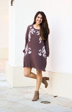Mocha Embroidered Shift Dress. Winter Fashion. Spring Fashion. Women's Dresses. Women's Fashion. Mocha. Tan booties. Dress with boots.