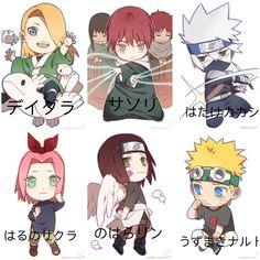 Deidara, Sasori, Kakashi, Sakura, Rin, Naruto