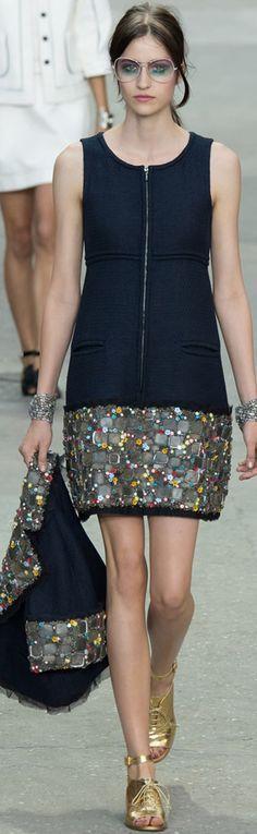Chanel ~ Sequin Embellished Black Mini Dress + Cropped Jacket Spring 2015 Paris