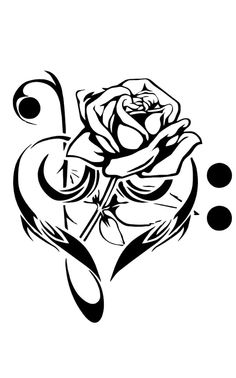 Like this rose in a heart tattoo... But without the black dots maybe.
