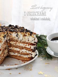 Tort bezowy z orzechami włoskimi, tort bezowy, orzechy włoskie, czekolada, http://najsmaczniejsze.pl #food #cake #beza #orzechy #Święta