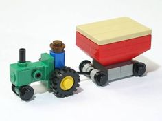 Jason Alleman has some great farm-themed micro creations, with equipment like a tractor and disk harrow , a gravity wagon and a whole farm . Legos, Lego Cars Instructions, Lego Tractor, Pokemon Cards Legendary, Lego Advent, Lego Kits, Micro Lego, Lego Craft, Lego Architecture