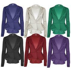 Womens Ladies Slim Fit Casual Office Frill Peplum One Button Blazer Coat Jacket