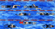 Swimming Laps fabric print. Swim team, swimmers https://www.spoonflower.com/fabric/6301733-swiming-laps-by-eileenmckenna