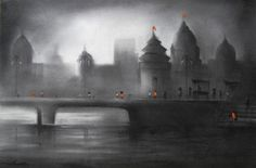 """Ghat"" one of the Best Artwork by Artist Somnath R. Bothe  Medium: Charcoal & Acrylic on Paper & Size: 17"" X 27"" #Art #Paintings #IndianArt #Artwork"