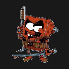 #Deadpool #Fan #Art. (Dead Bob, the most mercenary spongy.) By: Fernando Sala. ÅWESOMENESS!!!™ ÅÅÅ+