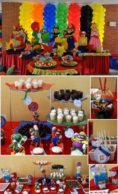 Super Mario party ideas just in case the little one changes his mind Super Mario Bros, Super Mario Birthday, Mario Birthday Party, Super Mario Party, 6th Birthday Parties, Birthday Ideas, Sonic Birthday, Happy Birthday, Bolo Do Mario