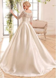 Gorgeous Lace & Satin Bateau Neckline A-Line Wedding Dresses With Belt