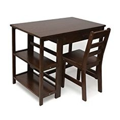 Lipper International 584WN Child's Work Station Desk and Chair, Walnut Finish