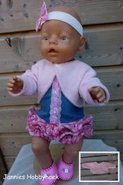 bolero van fleece, eigen ontwerp BabyBorn 43cm