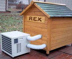 Portable air conditioner and heater for all-weather dog house and camps