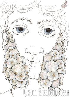 Garlic Sideburns knows that historical facial hair is far superior to modern styles...watercolor print by ElizabethOcean on Etsy