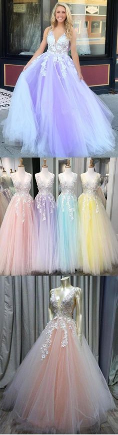 Charming Ball Gown V Neck Tulle Lace Appliques Prom Dresses, Evening STC20397, This dress could be custom made, there are no extra cost to do custom size and color